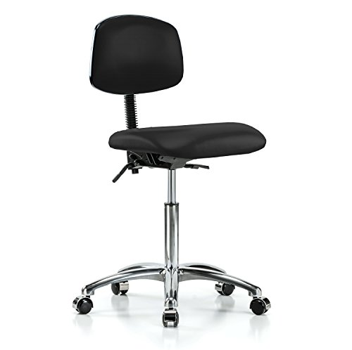 Perch Chrome Rolling Laboratory Chair With Adjustable Bac...