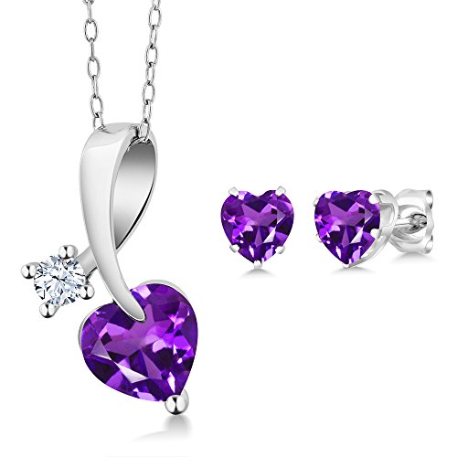 1.81 Ct Heart Shape Purple Amethyst 925 Sterling Silver Pendant Earrings Set (Earrings Set Silver Pendant)