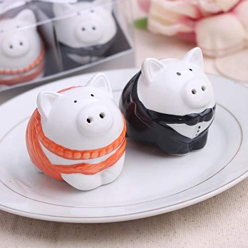 Souvenir Salt Pepper - Pig Bride and Groom Porcelain Salt & Pepper Shakers for Wedding Event Souvenirs