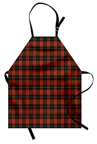 (Lunarable Plaid Apron, Scottish Tartan with Traditional Colors Vintage Country Style, Unisex Kitchen Bib Apron with Adjustable Neck for Cooking Baking Gardening, Brown Mustard)