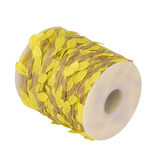 (Tenn Well Burlap Leaf Ribbon, 66 Feet 5mm Natural Jute Twine with Artificial Leaves for Crafts Wedding Gardening Party Home Decor (Yellow))