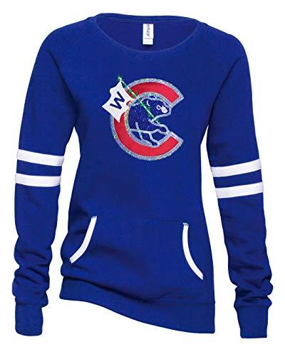 Cub Hoodie Sweatshirt - Varsity Bling Flying a W Ladies Crewneck (Medium)