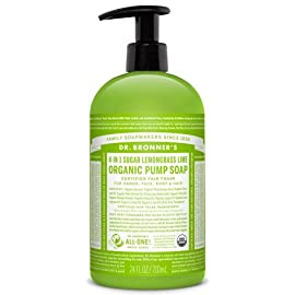 Dr. Bronner's Organic Lemongrass Lime Sugar Soap. 4-in-1 Organic Pump Soap for Home and Body (24 oz) 97 ORGANIC SUGAR SOAP. Dr. Bronner's Organic Sugar Soap is made for washing everything from your hands to your hair. This multi-purpose soap utilizes organic and vegan ingredients to keep your skin hydrated, nourished, and smooth. LEMONGRASS LIME. Citrusy and floral, this clean and crisp soap has a fresh scent like botanical grasses and vibrant lemon. Containing organic essential oils, Dr. Bronner's Sugar Pump Soap is concentrated, biodegradable, versatile and effective 4-IN-1 SOAP. Great for washing your hands, face, body, and hair, this soap offers organic and vegan ingredients. Sugar gives it a caramel color and sweet scent, white grape juice is nourishing, and coconut-olive-hemp oils give a creamy castile lather.