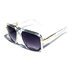 Classic Square Frame Plastic Flat Top Aviator with Metal Trimming Sunglasses (Clear Gold, Black)