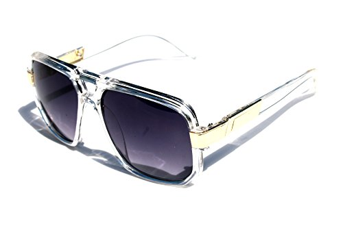 Classic Square Frame Plastic Flat Top Aviator with Metal Trimming Sunglasses (Clear Gold, - Frame Sunglasses Flat