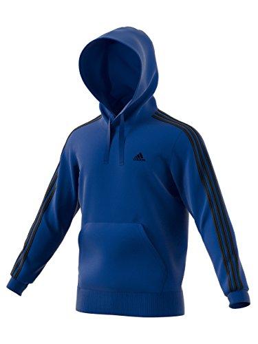 adidas Men's Essentials 3-Stripe Pullover Hoodie, Collegiate Royal/Black, (Black Collegiate Hoody Sweatshirt)