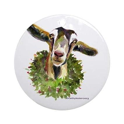 Goat Christmas Ornament.Amazon Com Uniquepig Christmas Goat Round Ornament 2018