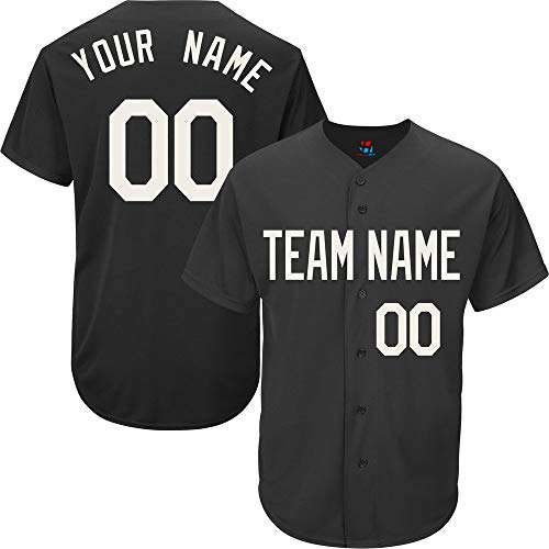 - Pullonsy Custom Baseball Jersey for Men Big and Tall Button Down Embroidered Your Name & Numbers,Black Size 7XL