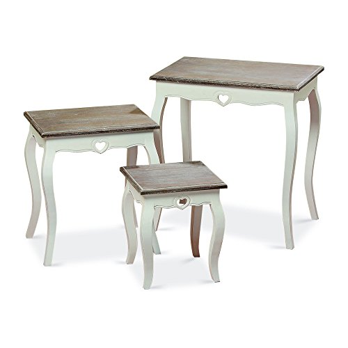 Medium Art Pedestal (Whole House Worlds The French Country Style Side Tables, Set of 3, Nesting, Shabby Chic Distressed Finish, White, Wood, Dark Top, From Over 2 Ft Tall (25 1/2-12 1/2 Inches) By)