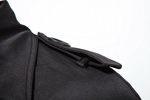Elonglin Boutonnage Coup Pardessus Veste Avec Uni vent Noir Trench Ceinture Homme Jacket Longue Slim Double Coat À Manteau Militaire Blouson rI8rzPqx