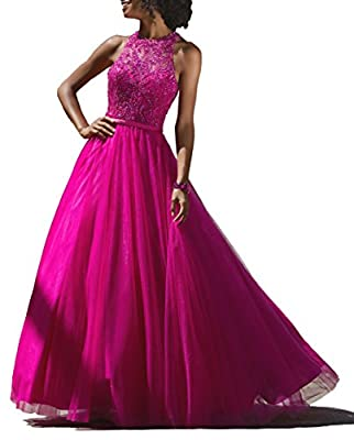 YORFORMALS Women's Floor Length Beaded Tulle Evening Prom Dress A-line Formal Ball Gown