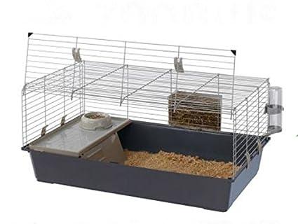 Jaula para conejos y cobayas, con apertura frontal, accesorios incluidos, ideal para tu mascota