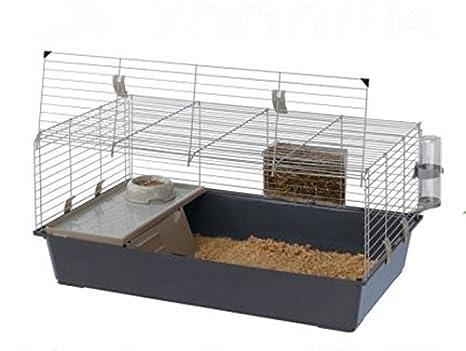 Jaula para conejos y cobayas, con apertura frontal, accesorios ...