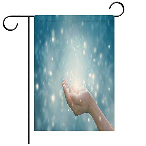 BEICICI Double Sided Premium Garden Flag Hands of a Woman respecting and Praying on Blue Background Decorative Deck, Patio, Porch, Balcony Backyard, Garden or Lawn