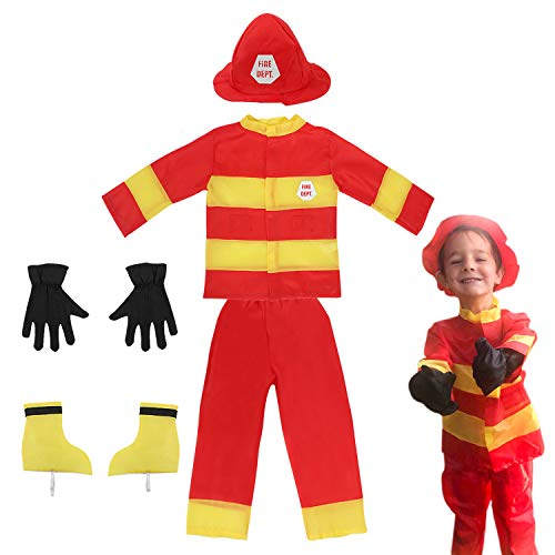 Toiijoy Kids 7Pcs Firefighter Costume Fireman Fire Chief Role Play Dress up Set for Kids Age 3-6 Years