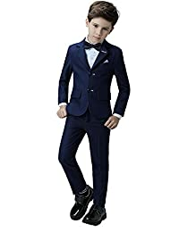 Yanlu 4 Piece Formal Boys Suits For Weddings With Blazer,Pants, Shirt And Bow Tie