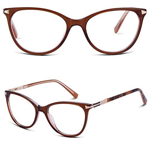 Eyeglass Frames for Women, Non Prescription Glasses Frames with Clear Lenes, Designer Handmade Cat Eye Stylish Brown Eyewear Frames