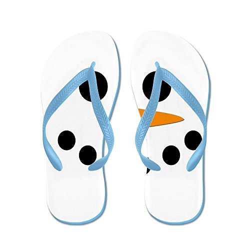 Cafepress Sneeuwpop Gezicht - Flip Flops, Grappige Thong Sandalen, Strand Sandalen Caribbean Blue