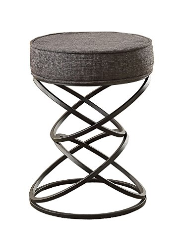 - Homelegance Yara Artistic Interconnecting Circles Regular-Height Metal Stool, Grey