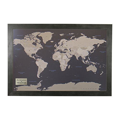 Push Pin Travel Maps Personalized Earth Toned World with Rustic Black Frame and Pins 24 x 36
