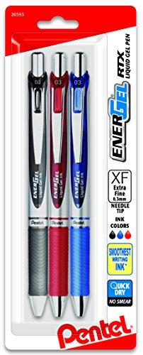 Pentel EnerGel RTX Retractable Liquid Gel Pen, (0.3mm) Needle Tip, Extra Fine Line,  Assorted Ink, 3-Pk (BLN73BP3M) (Gel Ink Fine Writing Pen)