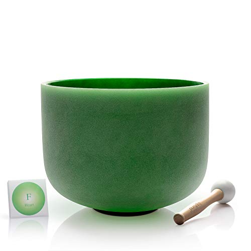 TOPFUND Green Color Crystal Singing Bowl F Note Heart Chakra 12 inch O-ring and Suede Striker or Rubber Mallet included
