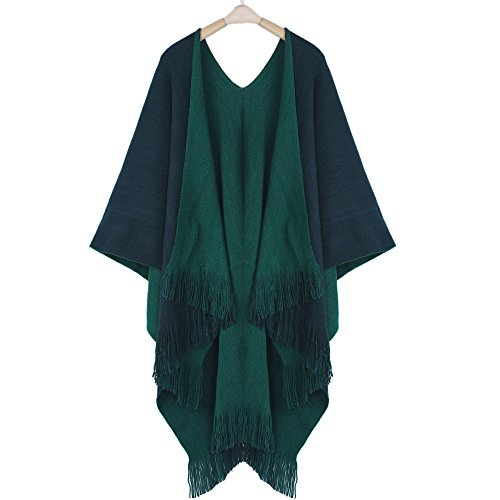 FTXJ Women Winter Knitted Cashmere Poncho Capes Shawl Cardigans Sweater Coat