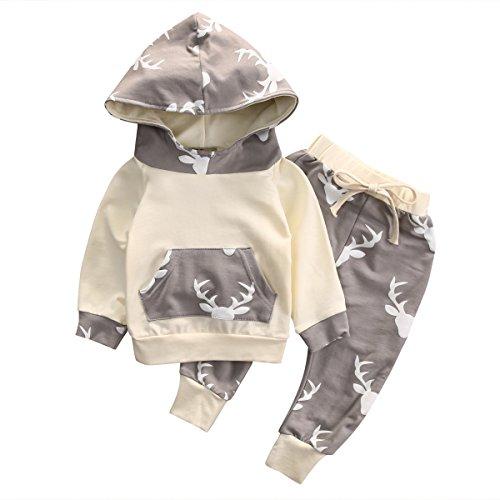 Baby Boy Girl 2pcs Christmas Suit Hoodies Deer Print Long Sleeve Top+Long Pants (6-12months, Beige) (Suits For Baby)