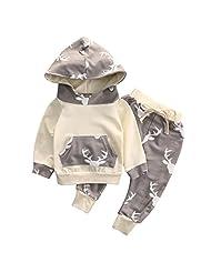 Baby Boy Girl 2pcs Christmas Suit Hooded Deer Print Long Sleeve Top+Long Pants