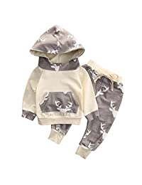 Baby Boy Girl 2pcs Baby Shower Suit Hoodies Deer Print Long Sleeve Top+Long Pants