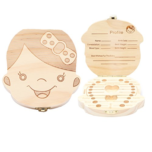 Wooden Baby Tooth Keepsake Box Customize Personalized Baby Teeth Storage Organizer First Lost Milk Teeth Deciduous Souvenir Case (Girl)