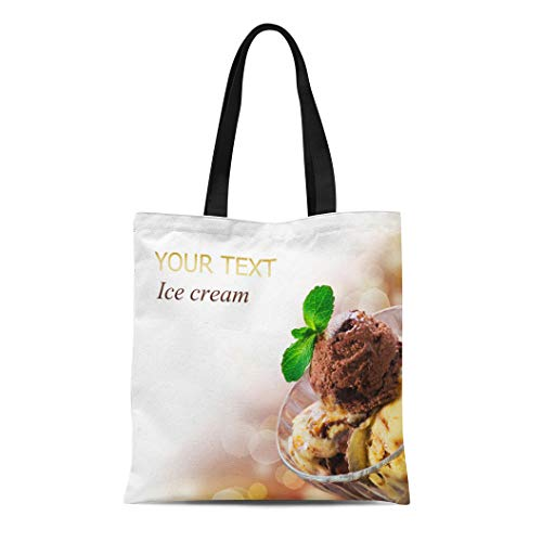 (Semtomn Canvas Tote Bag Shoulder Bags Brown Food Yellow Icecream Ice Cream White Dessert Scoop Women's Handle Shoulder Tote Shopper Handbag)