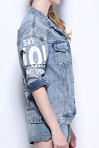 Manica Distressed Blau BoBo Giacca Jeans Cappotto Donna Lunga Tendenza Relaxed Coat Stile Jeans Fidanzato Fashion Especial Jeans 88 Casual Bavero Giacca Estilo Elegante 7vU7nr