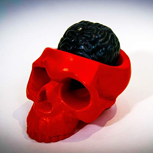 My Geek Things Handmade Novelty Crying Skull Candle Holder with a Brain Candle (Red/Black) -