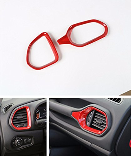 FMtoppeak Red 2 PCS ABS Interior Kits Dashboard Air Condition Vent Trim Ring Outlet Cover For 2014 UP Jeep Renegade