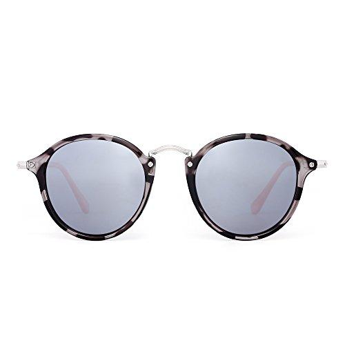 JIM HALO Retro Polarized Round Sunglasses for Women Vintage Small Mirror Glasses (Grey Tortoise/Polarized Silver)