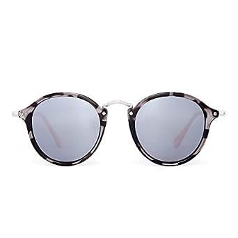 Retro Polarized Round Sunglasses Small Mirror Tinted Circle Lens Men Women (Grey Tortoise/Polarized Silver)