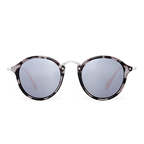 JIM HALO Retro Polarized Round Sunglasses for Women Vintage Small Mirror Glasses (Grey Tortoise/Polarized Silver)