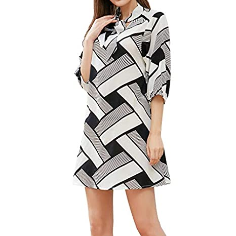 5cb908055c3d Amazon.com: Copercn Women's Ladies Black and White Cross Striped Print Self Tie  Knot Stand Collar Half Sleeve Loose Mini Dresses Fashion Casual Short ...