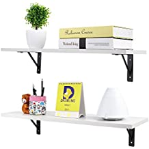 HOMFA Floating Shelves Wall Mounted Display Ledge Shelf with Bracket for Pictures and Frames Modern Home Decorative