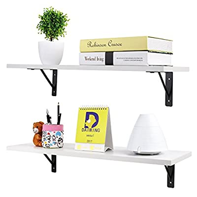 Homfa Floating Shelves Wall-Mounted Display Storage Ledge with Bracket for Bathroom, Kitchen, Living Room, Bedroom (2 Pack, White) - 1.HIGH QUALITY MATERIAL: Made of high grade melamine faced panels,with the wear resistance and durable, simple feature design, good breath-ability, smooth surface finish and Eco-friendly spray painted finish which makes it easy to clean. 2.SPACE-SAVING: This wall mounted floating shelf is suitable for holding books, phones ,wallet,keys and any other small items,which is perfect for saving your room space. 3.DECOTATE YOUR HOME: Light weight and creative design with the hidden bracket hanging system to display vases, family pictures and collectibles which makes your home more luxurious and elegant. - wall-shelves, living-room-furniture, living-room - 41BPkCd VbL. SS400  -