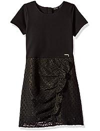 Big Girls' Short Sleeve Metallic Dress