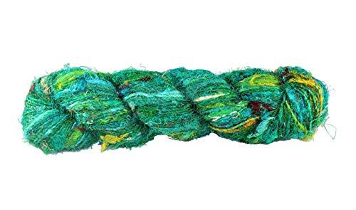 KNITSILK Premium Recycled Sari Silk Yarn - Ocean of Green Worsted (50 Yards, 1 Skein)