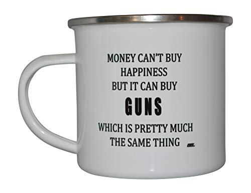 Funny Hunting Camp Mug Enamel Camping Coffee Cup Gift Money Happiness Guns Hunter Hunt