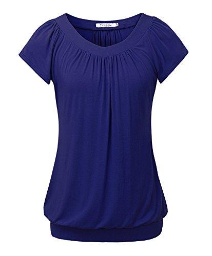 Women Short Sleeve Tops Banded Hem Flattering Blouson T-Shirt Blue XL