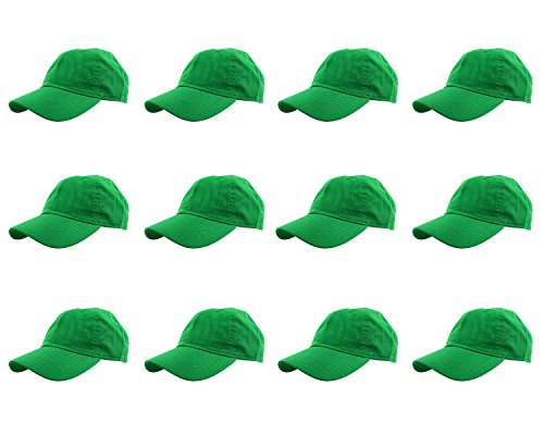 (Gelante Baseball Caps 100% Cotton Plain Blank Adjustable Size Wholesale LOT 12 Pack - 1825 KellyGreen)