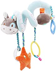 Eleusine Infant Baby Crib Mobile Ornament Hangings Rattle Toy Spiral Activity Plush Caterpillar Animal Stroller and Travel Toy (Style 2)