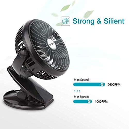 BriGenius Battery Operated Clip on Stroller Fan – Portable Mini Desk Fan with Rechargeable 2600mAh Battery USB Cable, USB Powered Fan for Baby Stroller Office Outdoor Travel