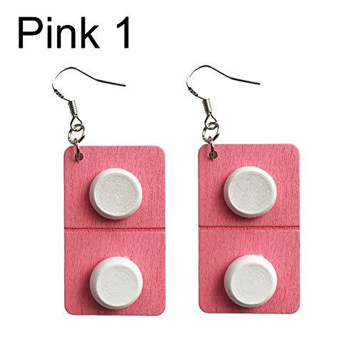Creative Pills Capsule Wooden Drop Pendant Women Hook Earrings Jewelry Gift Pink 1# ()