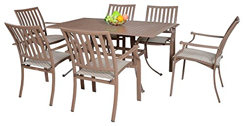 Panama Jack Outdoor Island Breeze 7-Piece Slatted Dining Group Set, Includes 6 Armchairs and 36 by 60-Inch Rectangular Aluminum Slatted Table (Breeze Furniture Outdoor)